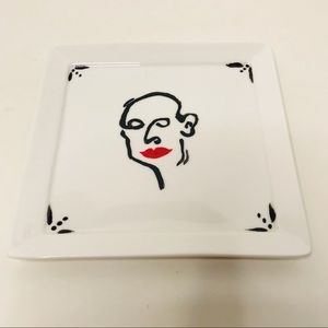 """5x5"""" Ceramic Hand Painted Linework Catch-All Plate"""